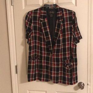 Requirements Short Sleeve Plaid Jacket